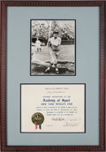 """Baseball Collectibles:Others, 1940 Babe Ruth Signed """"Academy of Sport"""" Certificate. ..."""