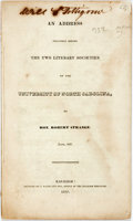 Books:Americana & American History, Strange, Robert: AN ADDRESS DELIVERED BEFORE THE TWO LITERARYSOCIETIES OF THE UNIVERSITY OF NORTH CAROLINA, BY...JUNE, 1837...