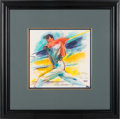 """Baseball Collectibles:Others, 1998 Joe DiMaggio Original Artwork by LeRoy Neiman--Study for""""Yankee Clipper."""" ..."""