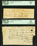 Colonial Notes:Rhode Island, Rhode Island Captain Benjamin Wilcox Wage Certificates March 28,1777 Two Examples PCGS Graded.. ... (Total: 2 notes)
