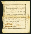 Colonial Notes:Massachusetts, Massachusetts Bay Loan Certificate £100 Nov. 29, 1776 Anderson MA-2Very Fine.. ...