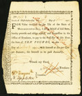Colonial Notes:Massachusetts, Massachusetts Bay Treasury Certificate £10 December 25, 1776, 1776Anderson MA-5 Very Fine.. ...