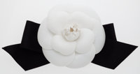 Chanel Black & White Grosgrain Camellia Flower Brooch