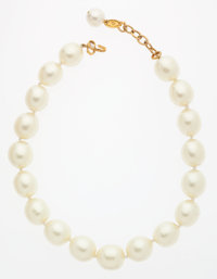 Chanel Glass Pearl & Gold Necklace