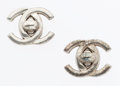 "Luxury Accessories:Accessories, Chanel Silver CC Turnlock Earrings . Good Condition. .75""Height . ..."