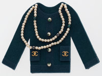 Chanel Black Felt Classic Coco Cardigan Brooch