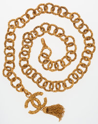 Chanel Gold CC Logo Belt with Tassel