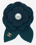 Luxury Accessories:Accessories, Chanel Glass Pearl & Green Felt Camellia Flower Brooch . ...