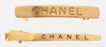 Luxury Accessories:Accessories, Chanel Set of Two; Gold Hair Barrette & Clip . ...