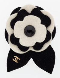 Chanel Black & White Felt Camellia Flower Brooch