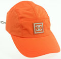 Luxury Accessories:Accessories, Chanel Orange Nylon Sport Collection Baseball Cap . ...
