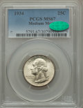 Washington Quarters: , 1934 25C Medium Motto MS67 PCGS. CAC. PCGS Population (85/1). NGCCensus: (57/0). Mintage: 31,912,052. Numismedia Wsl. Pric...