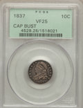 Bust Dimes: , 1837 10C VF25 PCGS. PCGS Population (6/172). NGC Census: (2/124).Mintage: 359,500. Numismedia Wsl. Price for problem free ...