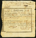 Pennsylvania Interest Bearing Certificate £42 August 24, 1780 Anderson PA-2 Fine