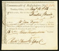 Colonial Notes:Massachusetts, Massachusetts Treasury Collector of Impost and Excise Tax'sCertificate £14 August 18, 1788 Anderson MA-43 Very Fine.. ...