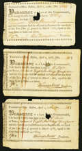 Colonial Notes:Massachusetts, Massachusetts Treasury Certificates 8s.4d; 8s.4d; £5 April 1, 1786Anderson MA-37 Fine, HOC.. ... (Total: 3 notes)