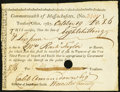 Colonial Notes:Massachusetts, Massachusetts Treasury Office Import and Excise Certificate 8s 6dOctober 19, 1787 Anderson MA-42 Very Fine, HOC.. ...