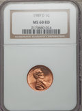 Lincoln Cents: , 1989-D 1C MS68 Red NGC. NGC Census: (14/0). PCGS Population (49/0). Numismedia Wsl. Price for problem free NGC/PCGS coin i...