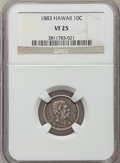 Coins of Hawaii: , 1883 10C Hawaii Ten Cents VF25 NGC. NGC Census: (26/406). PCGSPopulation (33/610). Mintage: 250,000. ...