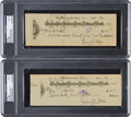 Baseball Collectibles:Others, 1931 and 1932 Ty Cobb Double-Signed Checks Lot of 2, PSA/DNA Mint9. ...