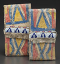 American Indian Art:Pipes, Tools, and Weapons, A PAIR OF MINIATURE SIOUX PAINTED PARFLECHE ENVELOPES. c. 1890...(Total: 2 Items)