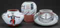 American Indian Art:Pottery, THREE SOUTHWEST POLYCHROME JARS. J. D. Medina, L. Gachupin and MarySaxon... (Total: 3 )