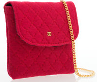 Chanel Red Quilted Cotton Mini Shoulder Pouch Bag