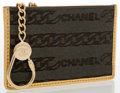 Luxury Accessories:Accessories, Chanel Green Ponyhair & Metallic Gold Leather Coin Purse . ...