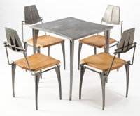 ROBERT JOSTEN (American, 20th century) Table and Four Chairs, circa 1970 Cast aluminum, steel, maple
