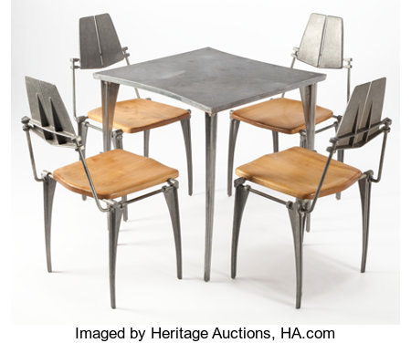 ROBERT JOSTEN (American, 20th century)Table and Four Chairs, circa 1970Cast aluminum, steel, maple29-1/4 x 27-1/2 ... (Total: 5 Items)
