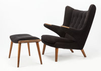 HANS WEGNER (Danish, 1914-2007) Papa Bear Chair and Ottoman, designed 1950 Teak, oak, fabric upholst