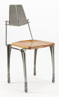 Furniture, ROBERT JOSTEN (American, 20th century). Desk Chair, circa 1970. Cast aluminum, steel, maple, casters. 25-3/4 x 18-1/2 x ...
