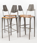 Post-War & Contemporary:Contemporary, ROBERT JOSTEN (American, 20th century). Bar Stool (set offour), circa 1970. Cast aluminum, steel, maple. 47-1/4 x 19 x ...(Total: 4 Items)