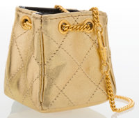 Chanel Metallic Gold Quilted Lambskin Leather Mini Shoulder Bag with Gold Hardware