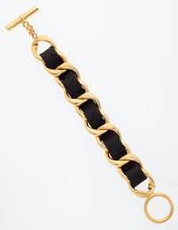 Chanel Black Leather & Gold Chain Bracelet