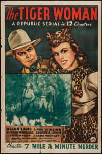 """The Tiger Woman (Republic, 1944). One Sheet (27"""" X 41""""). Chapter 7 -- """"Mile a Minute Murder."""" Serial..."""