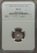 Mexico, Mexico: Republic 1/2 Real 1838/7 Go-PJ MS62 NGC,...