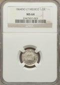 Mexico, Mexico: Republic 1/2 Real 1864 Do-LT MS64 NGC,...