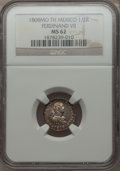 Mexico, Mexico: Ferdinand VII 1/2 Real 1808 Mo-TH MS62 NGC,...