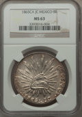 Mexico, Mexico: Republic 8 Reales 1865 Ca-JC MS63 NGC,...