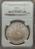 Mexico, Mexico: Republic 8 Reales 1845/4 Mo-MF MS63 NGC,...