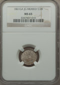 Mexico, Mexico: Republic 1/2 Real 1861 Ga-JG MS65 NGC,...