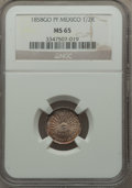 Mexico, Mexico: Republic 1/2 Real 1858 Go-PF MS65 NGC,...