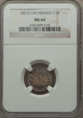 Mexico, Mexico: Republic 1/2 Real 1851 Z-OM MS64 NGC,...