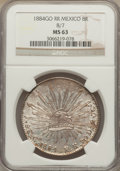 Mexico, Mexico: Republic 8 Reales 1884 Go-RR, Second 8/7, MS63 NGC,...