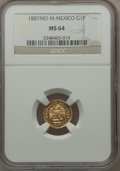 Mexico, Mexico: Republic gold Peso 1887 Mo-M MS64 NGC,...