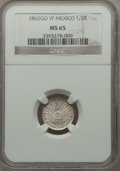 Mexico, Mexico: Republic 1/2 Real 1862 Go-YF MS65 NGC,...