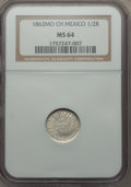 Mexico, Mexico: Republic 1/2 Real 1862 Mo-CH MS64 NGC,...