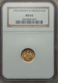 Mexico, Mexico: Republic gold Peso 1900/800 Mo-M MS63 NGC,...