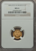 Mexico, Mexico: Republic gold Peso 1896/5 Cn-M MS61 NGC,...
